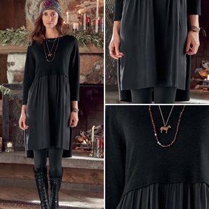 Sundance Black Wool Silk Long Sleeve Jillian Dress